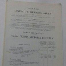 Líneas de navegación: COMPAÑIA TRASATLÁNTICA. ITINERARIO LINEA DE BUENOS AIRES. 1913.. Lote 118215055