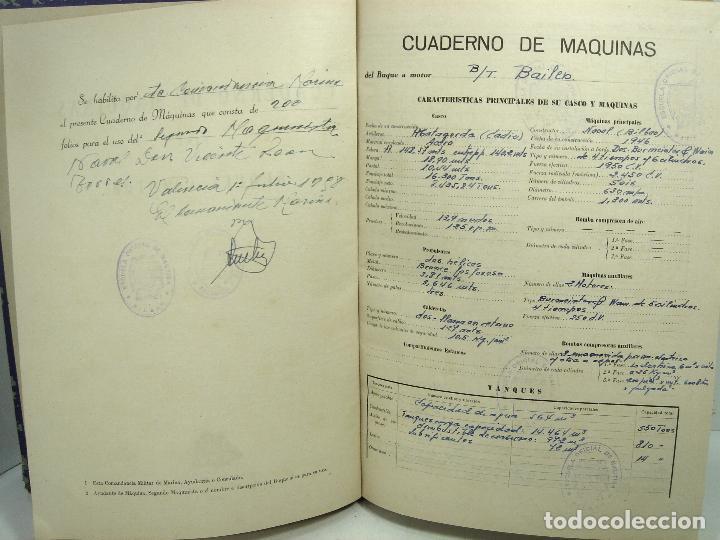 Líneas de navegación: CUADERNO DE MOTORES 1958 -BUQUE B7T BAILEN-EDICIONES FRAGATA-SELLADO ESCUELA OFICIAL NAUTICA BILBAO - Foto 4 - 118285363