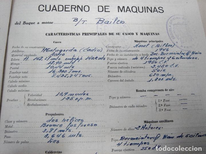 Líneas de navegación: CUADERNO DE MOTORES 1958 -BUQUE B7T BAILEN-EDICIONES FRAGATA-SELLADO ESCUELA OFICIAL NAUTICA BILBAO - Foto 7 - 118285363