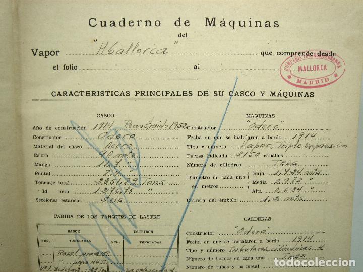 Líneas de navegación: CUADERNO DE MAQUINAS 1957 -VAPOR MALLORCA-EDICIONES FRAGATA-SELLADO COMANDANCIA MARINA VALENCIA - Foto 6 - 118287147
