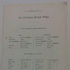 Líneas de navegación: COMPAÑIA TRASATLÁNTICA. ITINERARIO DE LA LINEA BRASIL-PLATA 1913. Lote 118309508