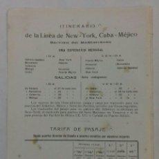 Líneas de navegación: COMPAÑIA TRASATLÁNTICA. ITINERARIO NEW-YORK, CUBA-MÉXICO 1913.. Lote 118310292