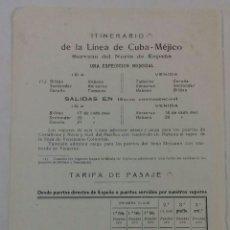 Líneas de navegación: COMPAÑIA TRASATLÁNTICA. ITINERARIO Y TARIFAS DE LA LINEA CUBA-MÉXICO 1913.. Lote 118310716