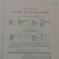 Líneas de navegación: COMPAÑIA TRASATLÁNTICA. ITINERARIO Y TARIFAS DE LA LINEA VENEZUELA-COLOMBIA. 1913. Lote 118311496