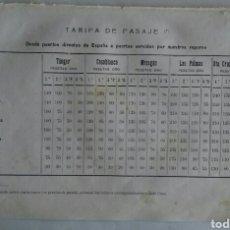 Líneas de navegación: COMPAÑIA TRASATLÁNTICA. TARIFA DE PASAJE. 1913.. Lote 118360054