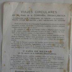 Líneas de navegación: COMPAÑIA TRASATLÁNTICA. VIAJES CIRCULARES POR LAS LUNEAS DE LA COMPAÑIA. 1913. Lote 118388940