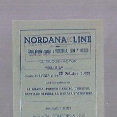 Líneas de navegación: NORDANA LINE. SEVILLA. TARJETA AVISO DE SALIDA DE BARCO. 1959. BUQUE BOLIVIA. Lote 118430831