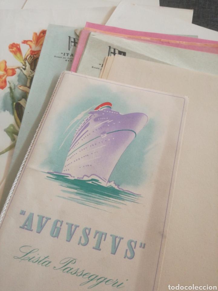 CRUCERO AUGUSTUS (1955): LISTA PASAJEROS, MENÚS, PROGRAMAS DIARIOS, INFORMATIVO BOMBARDEO PLAZA MAYO (Coleccionismo - Líneas de Navegación)