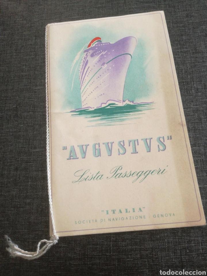 Líneas de navegación: CRUCERO AUGUSTUS (1955): LISTA PASAJEROS, MENÚS, PROGRAMAS DIARIOS, INFORMATIVO BOMBARDEO PLAZA MAYO - Foto 2 - 120126735