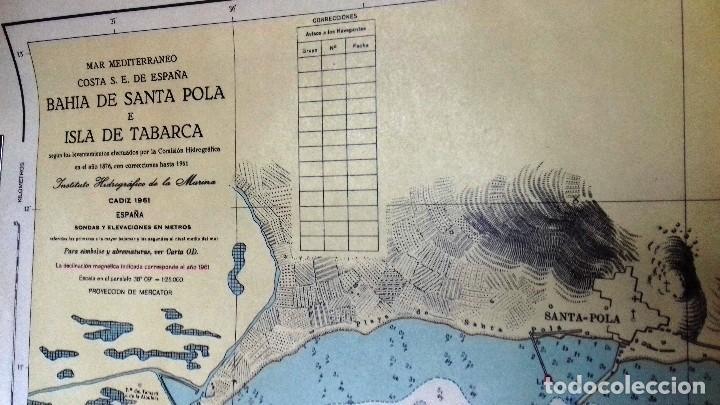 ALICANTE. CARTA NÁUTICA BAHÍA SANTA POLA E ISLA TABARCA. INST. HIDROGR, MARINA. CÁDIZ 1961 (Coleccionismo - Líneas de Navegación)