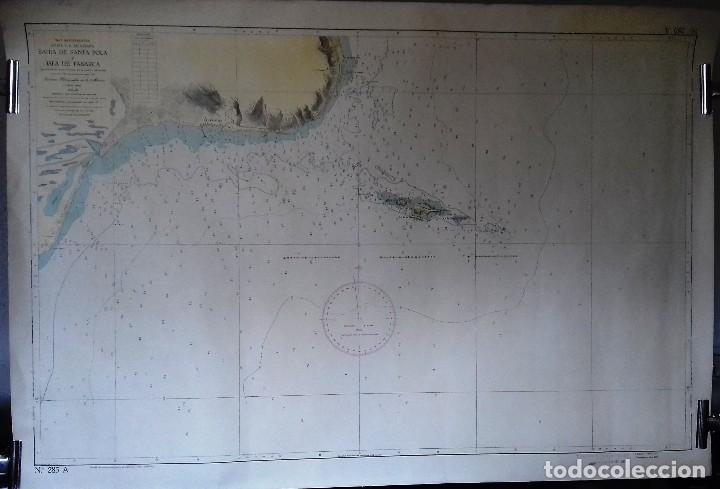 Líneas de navegación: ALICANTE. CARTA NÁUTICA BAHÍA SANTA POLA E ISLA TABARCA. INST. HIDROGR, MARINA. CÁDIZ 1961 - Foto 2 - 121080615