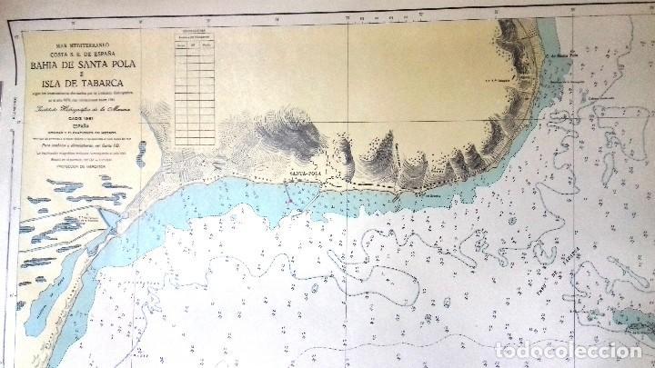 Líneas de navegación: ALICANTE. CARTA NÁUTICA BAHÍA SANTA POLA E ISLA TABARCA. INST. HIDROGR, MARINA. CÁDIZ 1961 - Foto 3 - 121080615