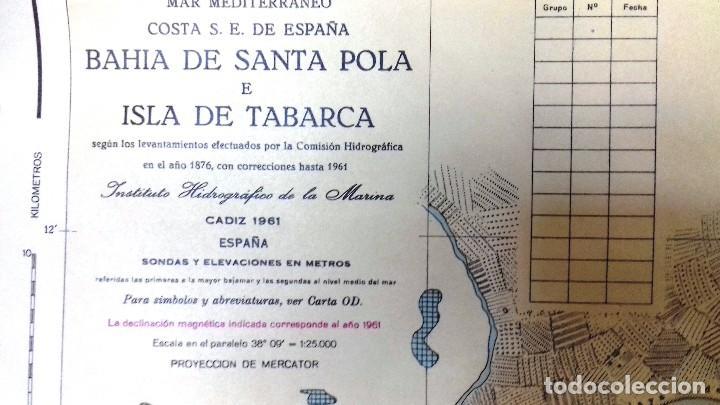Líneas de navegación: ALICANTE. CARTA NÁUTICA BAHÍA SANTA POLA E ISLA TABARCA. INST. HIDROGR, MARINA. CÁDIZ 1961 - Foto 6 - 121080615