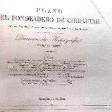 Líneas de navegación: CARTA NÁUTICA PLANO FONDEADERO DE GIBRALTAR. DIR HIDROGRAFIAS MADRID 1887. CORRECC. HASTA 1960. Lote 121082127