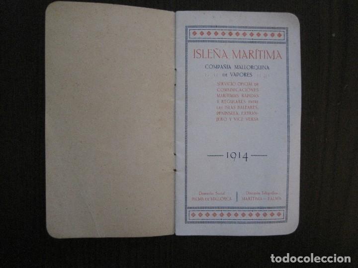 Líneas de navegación: ISLEÑA MARITIMA - PALMA MALLORCA- COMUNICACIONES MARITIMAS -AÑO 1914 -VER FOTOS-(V-14.580) - Foto 5 - 121894879