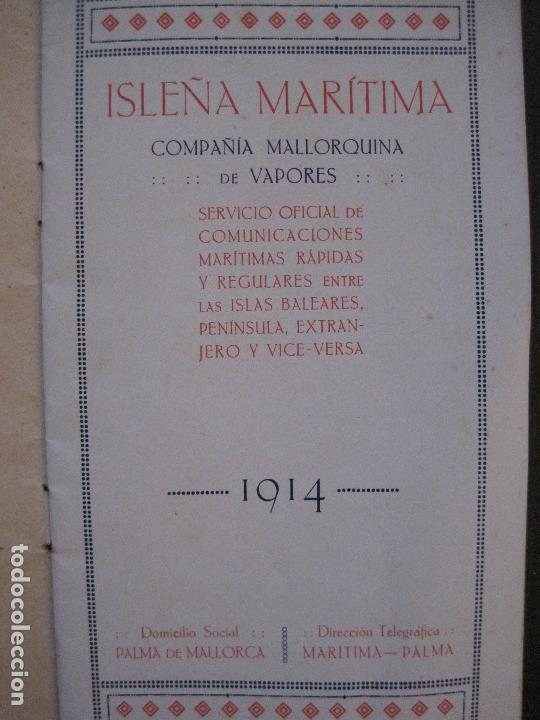 Líneas de navegación: ISLEÑA MARITIMA - PALMA MALLORCA- COMUNICACIONES MARITIMAS -AÑO 1914 -VER FOTOS-(V-14.580) - Foto 6 - 121894879