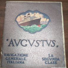 Líneas de navegación: CUADERNILLO CON 9 LAMINAS DEL BARCO AVGVSTVS. LA SEGUNDA CLASE. NAVIGAZIONE GENERALE ITALIANA. LEER.. Lote 123120083