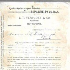 Líneas de navegación: SERVICIO REGULAR A VAPOR HOLANDESES. J.T.VERVLOET & CIE. CARTEL DE SALIDA DE VAPOR. 1901. Lote 124505759