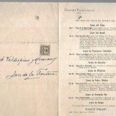 Líneas de navegación: COMPAÑIA TRASATLANTICA. CADIZ. 1901. SALIDAS DEL VAPOR A AMERICA. JOAQUIN PIELAGO. VER. Lote 124506019