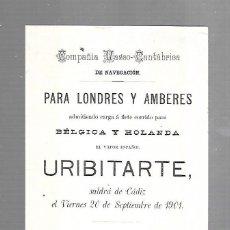 Líneas de navegación: CARTEL. COMPAÑIA VASCO-CANTABRICA. PARA LONDRES Y AMBERES. VAPOR URIBITARTE. 13 X 21CM. 1901.. Lote 124507239