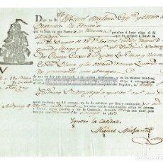 Líneas de navegación: HAVANA/ LA HABANA. CONOCIMIENTO DE EMBARQUE. MIGUEL MITJANA. BERGANTIN LAS ANIMAS. 1803. Lote 125307635