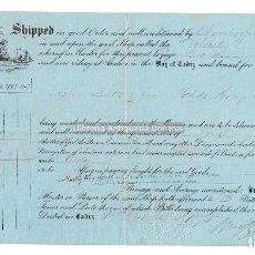 Líneas de navegación: CADIZ. CONOCIMIENTO DE EMBARQUE. ADOLFO CAPDEPON. SHIP VELOCITY. 1875. . Lote 125308943