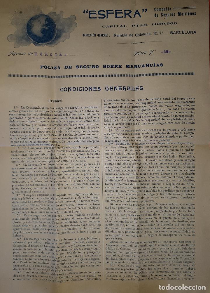 LA ESFERA COMPAÑÍA DE SEGUROS MARÍTIMOS BARCELONA 1918 (Coleccionismo - Líneas de Navegación)