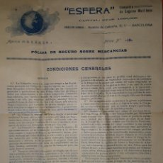 Líneas de navegación: LA ESFERA COMPAÑÍA DE SEGUROS MARÍTIMOS BARCELONA 1918. Lote 130041871