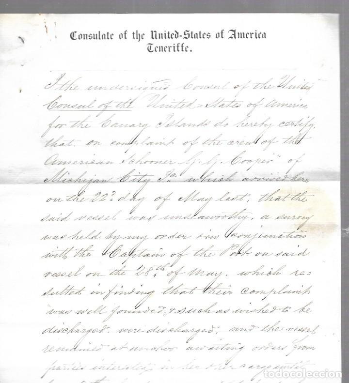 CONSULADO DE EEUU EN TENERIFE. 1879. LEER. VER FOTO Y SELLO (Coleccionismo - Líneas de Navegación)