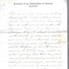 Líneas de navegación: CONSULADO DE EEUU EN TENERIFE. 1879. LEER. VER FOTO Y SELLO. Lote 131321810