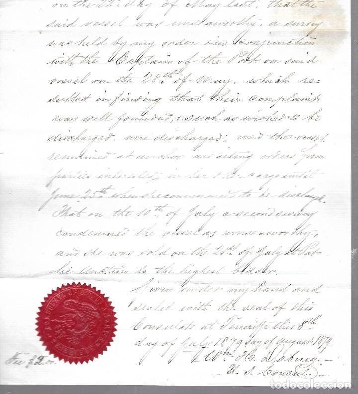 Líneas de navegación: CONSULADO DE EEUU EN TENERIFE. 1879. LEER. VER FOTO Y SELLO - Foto 2 - 131321810