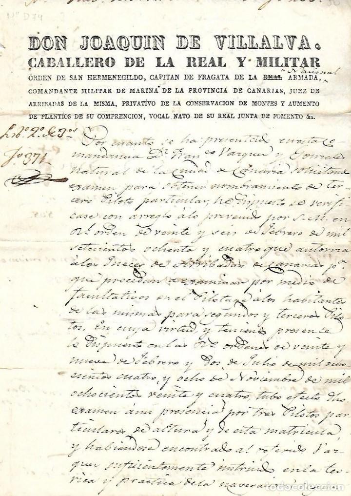 1837. NOMBRAMIENTO DE PILOTO PARA LA CARRERA DE INDIAS. CANARIAS. VER (Coleccionismo - Líneas de Navegación)