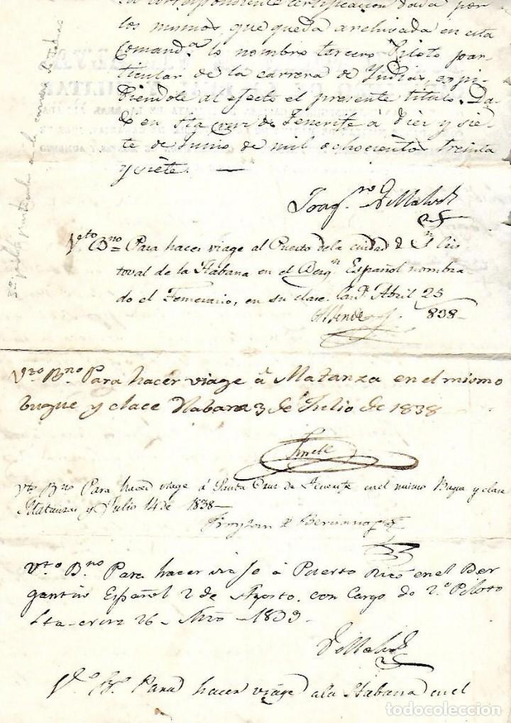 Líneas de navegación: 1837. NOMBRAMIENTO DE PILOTO PARA LA CARRERA DE INDIAS. CANARIAS. VER - Foto 2 - 131322206