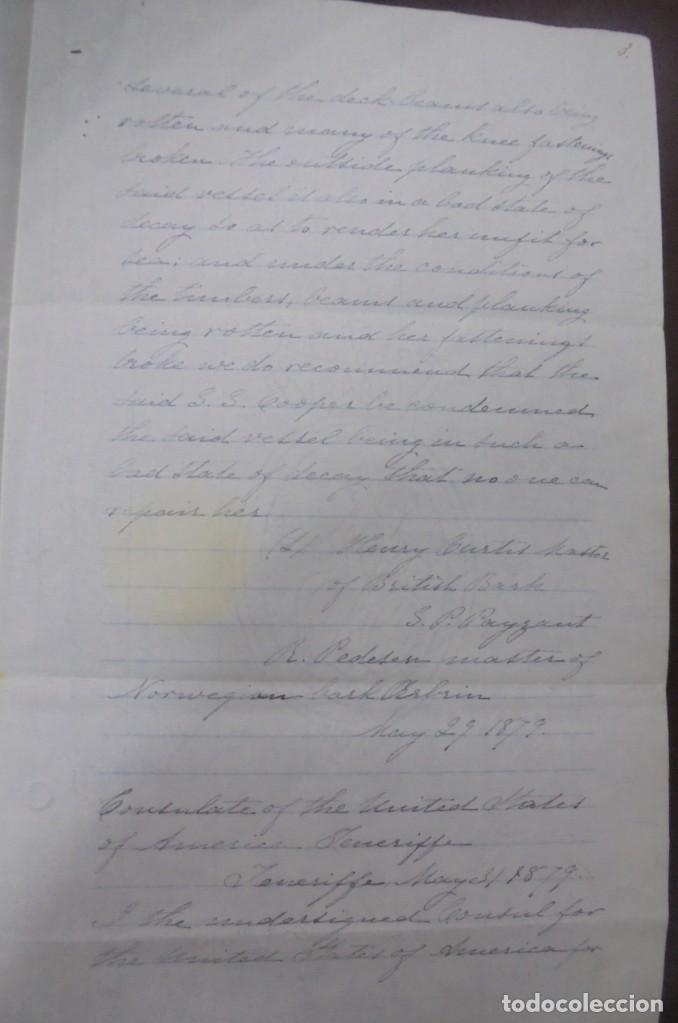 Líneas de navegación: CONSULADO DE EEUU EN TENERIFE. SS COOPER. LEER. 1879 - Foto 3 - 131328158