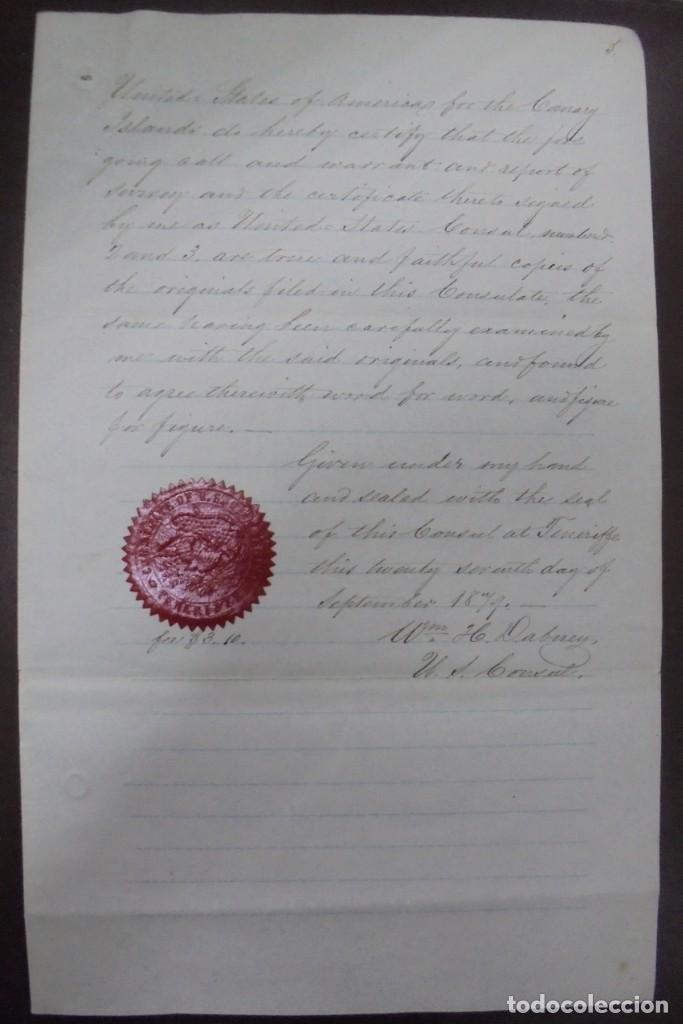 Líneas de navegación: CONSULADO DE EEUU EN TENERIFE. SS COOPER. LEER. 1879 - Foto 5 - 131328158