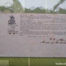 Líneas de navegación: REGISTRO DE EMBARQUE DE HUANO CON DESTINO VALENCIA DESDE LIMA, 1853. Lote 132832930