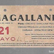 Líneas de navegación: CARTEL DE SALIDA DE BARCO. MAGALLANES. SALDRA DE CADIZ. VER. 15 X 8CM. Lote 133084418