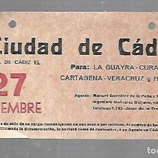 Líneas de navegación: CARTEL DE SALIDA DE BARCO. CIUDAD DE CADIZ. SALDRA DE CADIZ. VER. 15 X 8CM. Lote 133084538