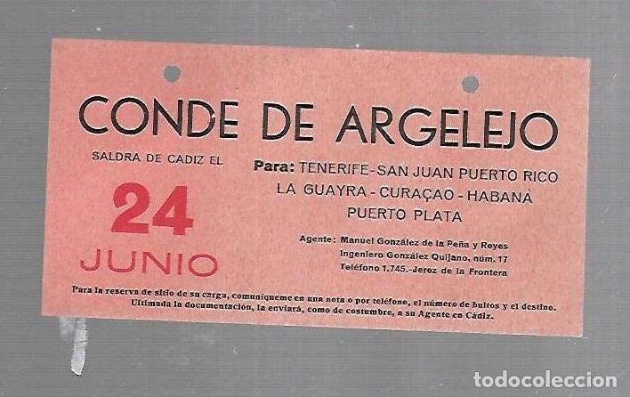 CARTEL DE SALIDA DE BARCO. CONDE DE ARGELEJO. SALDRA DE CADIZ. VER. 15 X 8CM (Coleccionismo - Líneas de Navegación)