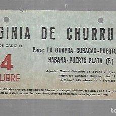 Linee di navigazione: CARTEL DE SALIDA DE BARCO. VIRGINIA DE CHURRUCA. SALDRA DE CADIZ. VER. 15 X 8CM. Lote 133084690