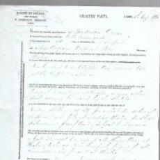 Líneas de navegación: CONOCIMIENTO DE EMBARQUE. JOSEPH BENSUSAN. DE CADIZ A LIVERPOOL. 1860. Lote 133700718