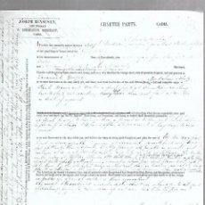 Líneas de navegación: CONOCIMIENTO DE EMBARQUE. JOSEPH BENSUSAN. DE CADIZ A FERROL. 1860. Lote 133700766