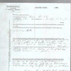 Líneas de navegación: CONOCIMIENTO DE EMBARQUE. JOSEPH BENSUSAN. DE CADIZ A MONTEVIDEO. 1860. Lote 133700854