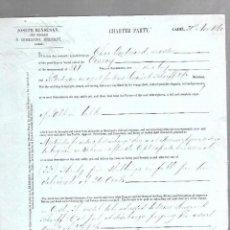 Líneas de navegación: CONOCIMIENTO DE EMBARQUE. JOSEPH BENSUSAN. DE CADIZ A MONTEVIDEO. 1860. Lote 133700874