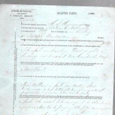 Líneas de navegación: CONOCIMIENTO DE EMBARQUE. JOSEPH BENSUSAN. DE CADIZ A NUEVA YORK. 1860. Lote 133700902