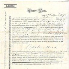 Líneas de navegación: CONOCIMIENTO DE EMBARQUE. JOSEPH BENSUSAN. DE CADIZ A BOSTON. 1873. Lote 133701578