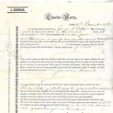 Líneas de navegación: CONOCIMIENTO DE EMBARQUE. JOSEPH BENSUSAN. DE CADIZ A RIO DE JANEIRO, BRASIL. 1873. Lote 133701610