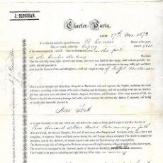 Líneas de navegación: CONOCIMIENTO DE EMBARQUE. JOSEPH BENSUSAN. DE CADIZ A NUEVA YORK. 1873. Lote 133701726