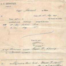 Líneas de navegación: RECIBI DE MANTECA DE CERDO Y 6 BARRILES PARA A.J. BENSUSAN. RECIBIDO EN PUNTALES, CADIZ. 1879. Lote 133702490