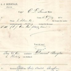 Líneas de navegación: RECIBI DE 1 CAJA DE PLATES DESDE NUEVA YORK PARA A.J. BENSUSAN. CADIZ. 1880. Lote 133702618